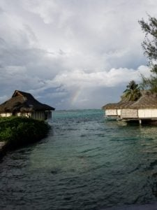 A view of several over water bungalows