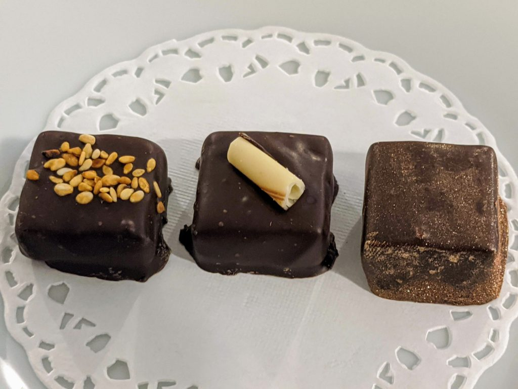 Chocolate and wine tasting samples