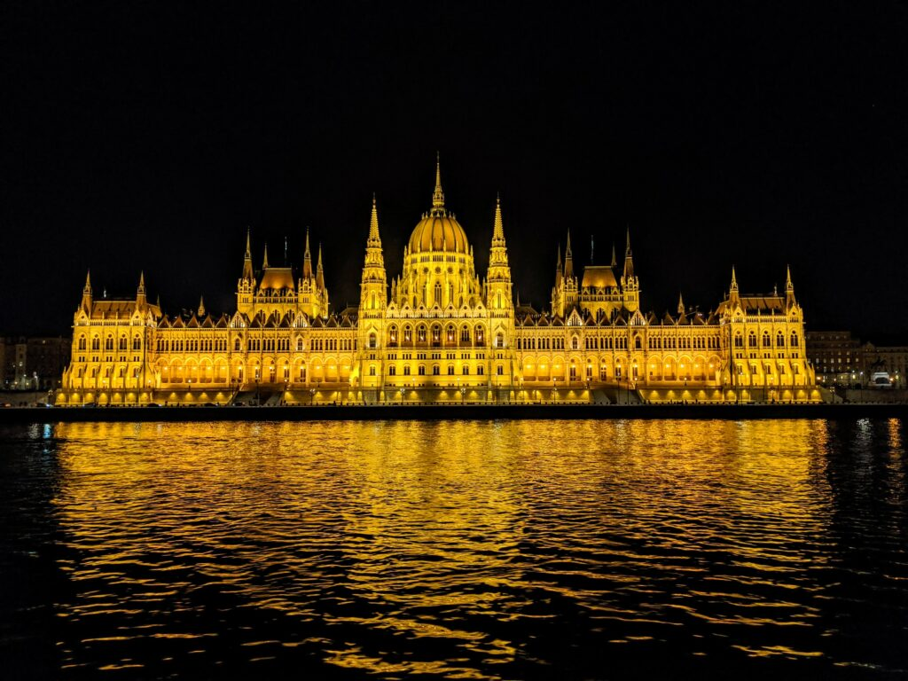 Budapest at night aboard the AmaViola